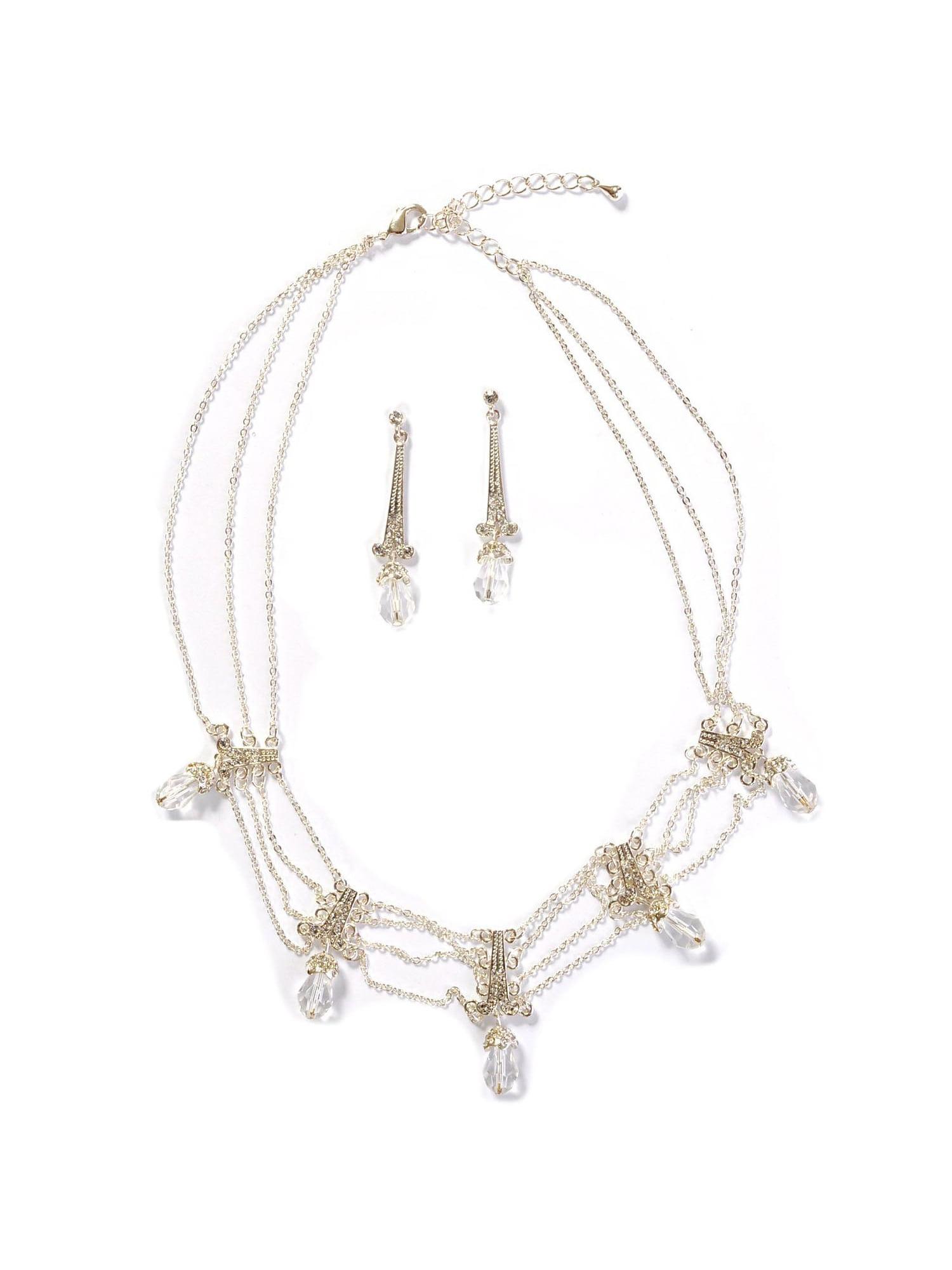 3230e56901d7 coolcrystal - Silver Crystal Multi Row Tied Strands Rhinestone Necklace   Dangle  Crystal Earrings Jewelry Set - Walmart.com