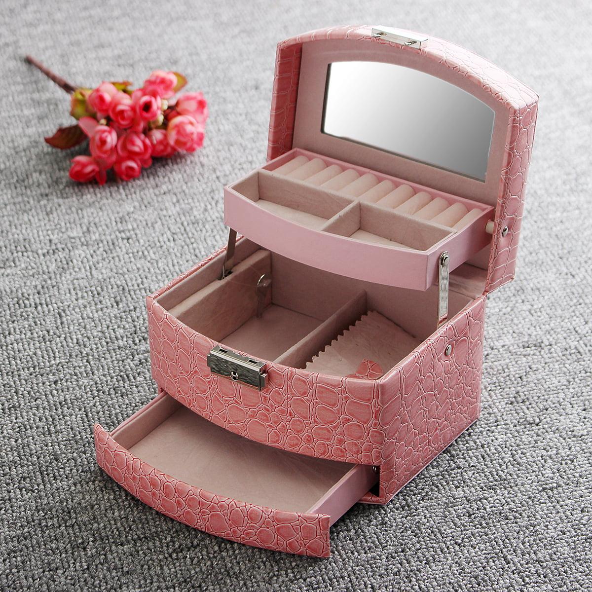 Jewelry Box Girls Jewelry Organizer Mirrored Mini Travel Case