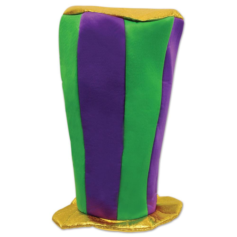 Beistle (12ct) Mardi Gras Plush Tall Top Hat