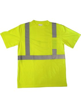 Boston Industrial High Visibility Lime Green Class 2 T-shirt with Reflective Stripes - Size Medium