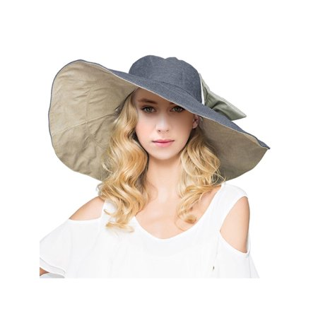 1b3f6d6fda2 BASILICA - Women s Reversible Foldable Wide Brim Sun Hat with Bowknot UPF  50
