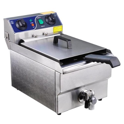 Commercial Stainless Steel Electric Deep Fryer with Drain Rotating Fyer Head Makes Cleansing
