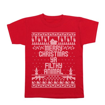 Home Merry Christmas Ya Filthy Animal Small Red Youth T-Shirt