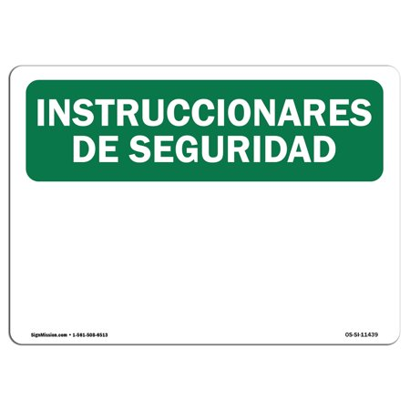 Osha Safety Instructions Sign Instrucciones De Seguridad