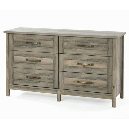 Better Homes & Gardens Modern Farmhouse 6-Drawer Dresser, Rustic Gray Finish ()