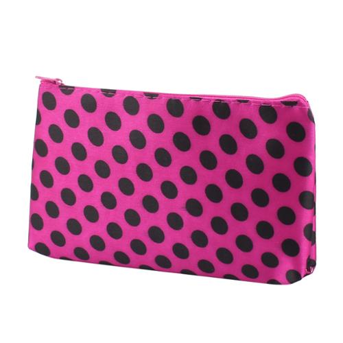 Lady Women Zip Up Dotted Nylon Handbag Purse Pouch Cosmetic Bag Black Fuchsia