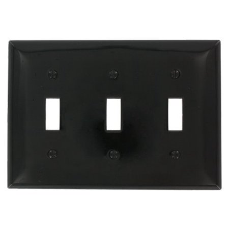 leviton 80711 e black nylon three gang toggle light switch wall plate walma. Black Bedroom Furniture Sets. Home Design Ideas