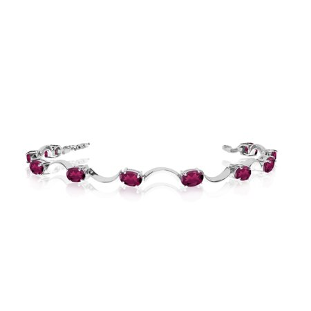 Gold Ruby Bag (10K White Gold Oval Ruby Curved Bar Bracelet)
