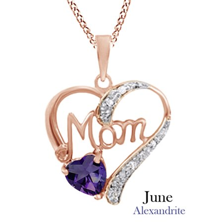 Alexandrite & White Diamond Accents MOM Heart Pendant Pendant Necklace in 925 Rose Gold Over Sterling Silver