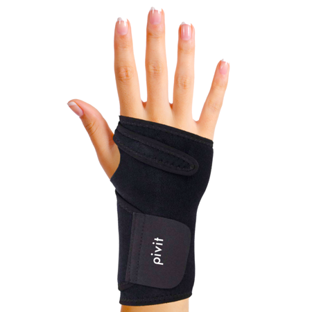 Pivit Antibacterial Carpal Tunnel Wrist Support Brace | Universal Hand Compression Wraps Fit Left or Right Hands | Duo Adjustable Straps & Removable Splint | Prevents Stains & Odor Causing