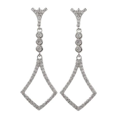Dlux Jewels Rhodium Plated Sterling Silver with Cubic Zirconia Dangle White Post Earrings - image 1 of 1