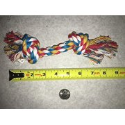 "Multi Colored Knotted Rope Bone Dog Toy Tough & Durable For Big Dogs Too !(8.5"" Rope Toy)"