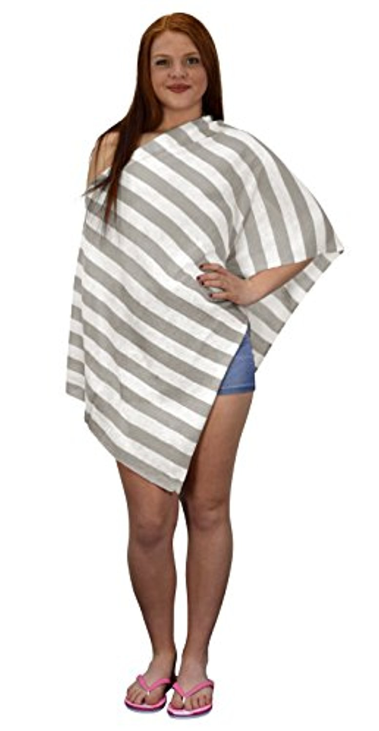 Peach Couture Womens Summer Fashion Light weight Striped Poncho Shrug Cover Up Ash Grey by