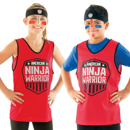 American Ninja Warrior Costume Set-Headband, Red Jersey, Face Paint for $<!---->