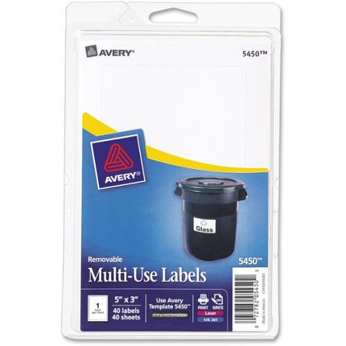 Avery Consumer Products Print or Write Removable Multi-Use Labels, 40/Pack (Set of 2)