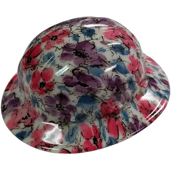 Flower Design Hydro Dipped GLOW IN THE DARK Hard Hats Full Brim Style with Ratchet  Suspensions - Walmart.com 09edf53d9a55