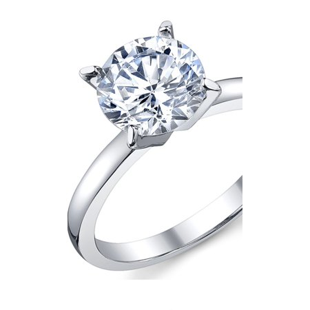 2 Carat Round Brilliant Cubic Zirconia CZ Sterling Silver 925 Wedding Engagement Ring Sizes 4 to