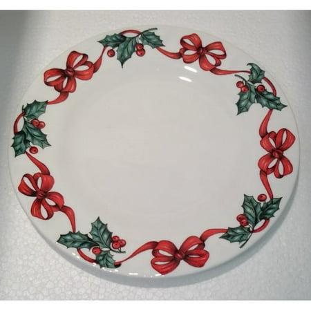 The Holiday Aisle Tabor Tea Plate Christmas Ribbon Bone China Coffee Mug (Set of 6)