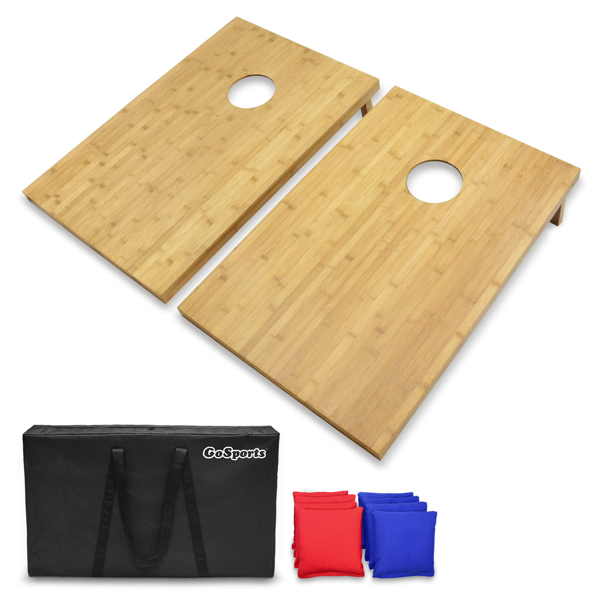 GoSports 3' x 2' Bamboo Cornhole Set with 8 Beanbags & Carrying Case Premium All Weather... by P&P Imports; LLC