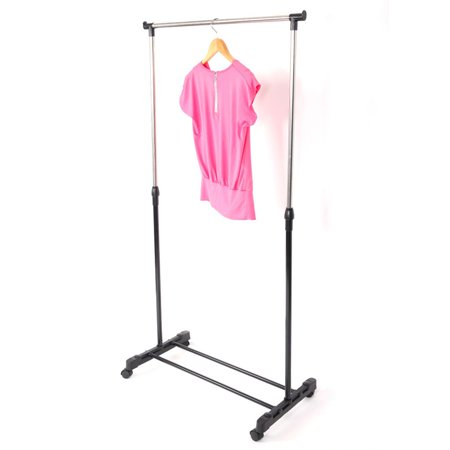 Indoor Cloths Dryer Rack Single Rod Rolling Garment Rack Movable Adjustable Height Clothing Drying Hanging Hanger Shoes Clothes