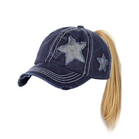 de97c6b43 C.C Ponycap Messy High Bun Ponytail Adjustable Glitter Star Distressed Baseball  Cap Hat, ...
