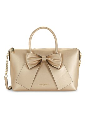 Fara Bow Faux Leather Satchel