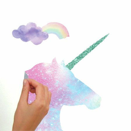 Galaxy Unicorn Peel and Stick Giant Wall Decal With Glitter