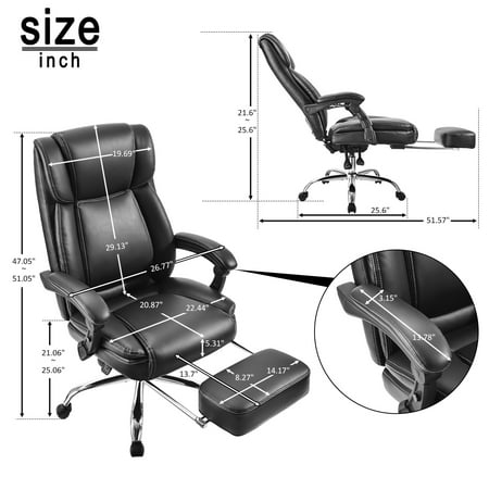 25.6'' x 25.6''x 51'' High Back Executive Office Chairs for Heavy People, SEGMART Adjustable Gaming Chair w/ Headrest Armrest, PU Leather High Back Swivel Office Computer Desk Chair, 250lbs, S4913