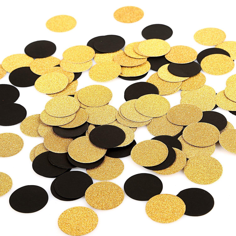 Glitter Paper Confetti Circles Wedding Party Decor and Table Decor 1.2'' in Diameter (glitter gold,black,200pc)
