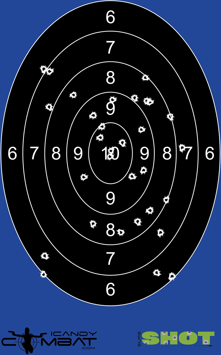 100 Pack Black Oval Bulls-Eye Splatter Shooting Target by iCandy Products Inc