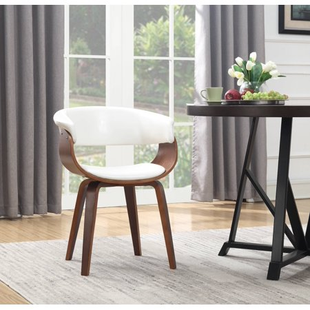 - Wood and White Faux Leather Mid-Century 18-Inch Seat Height Dining Chair