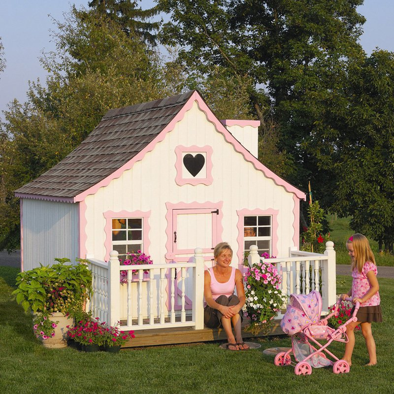 Little Cottage 8 x 8 Gingerbread Wood Playhouse