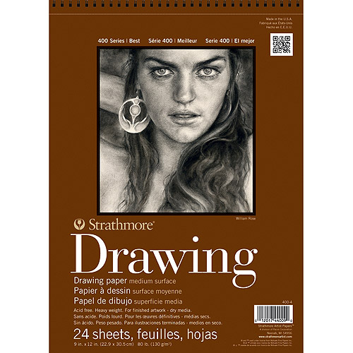 "Strathmore Medium Drawing Paper Pad, 8"" x 10"", 80 lb, 24 Sheets"