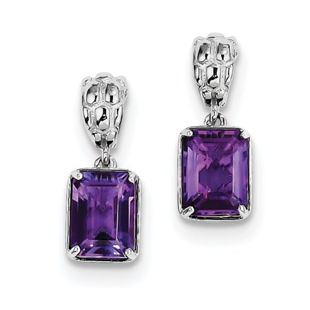 Sterling Silver Rhodium-plated Amethyst Earrings QE9908AM - image 2 of 2