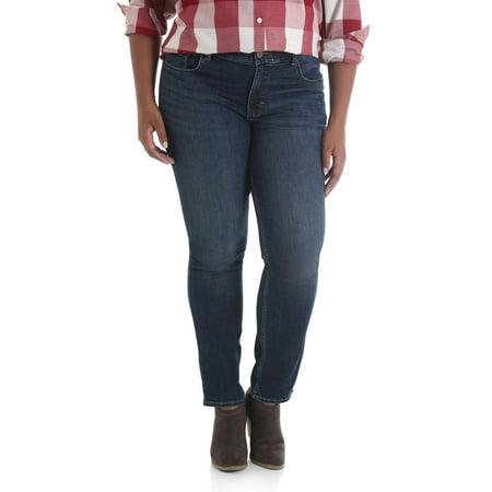 (Lee Riders Women's Plus Midrise Slim Straight Jean)