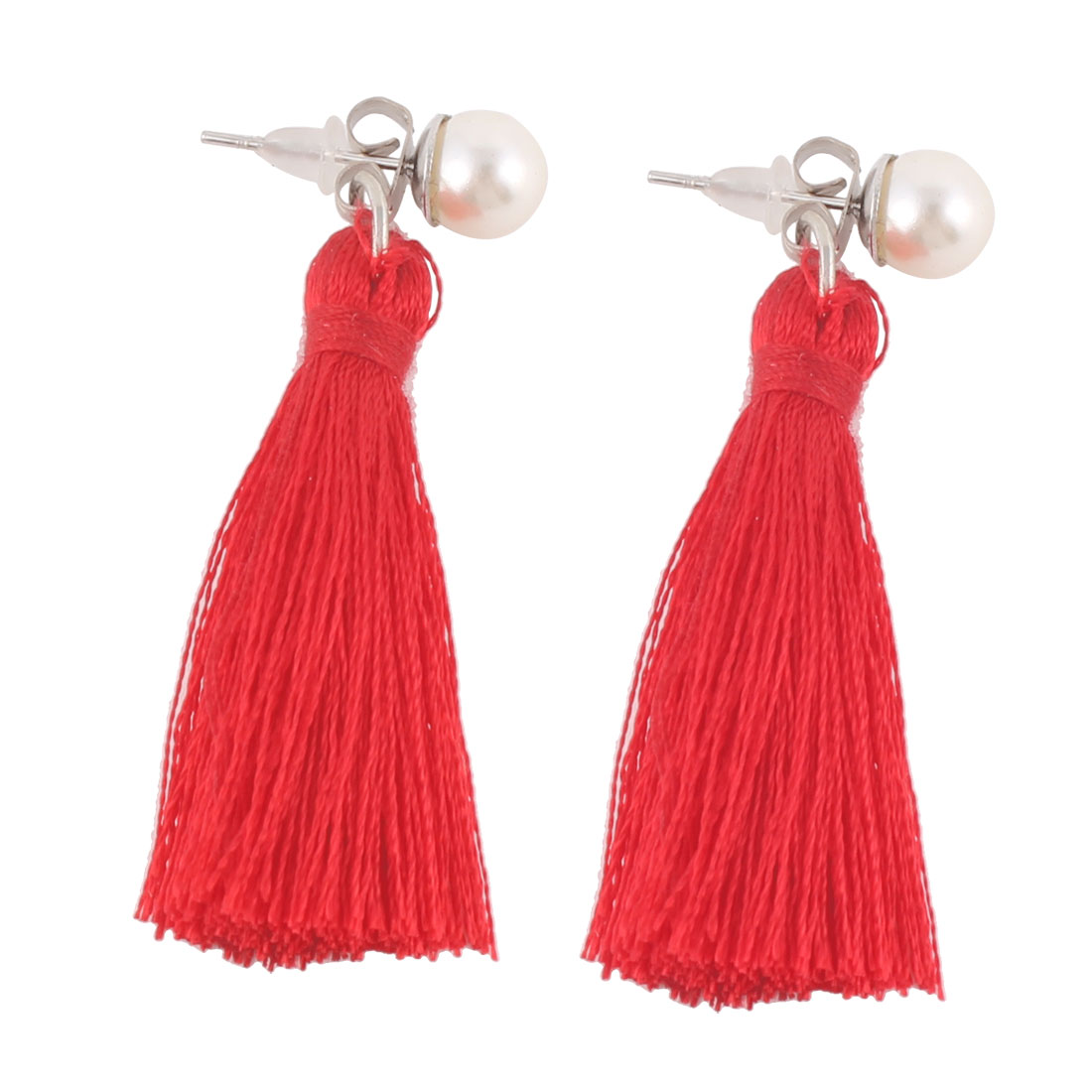Ladies Metal Hook Polyester Pearl Decor Earbobs Tassel Earrings Red Pair