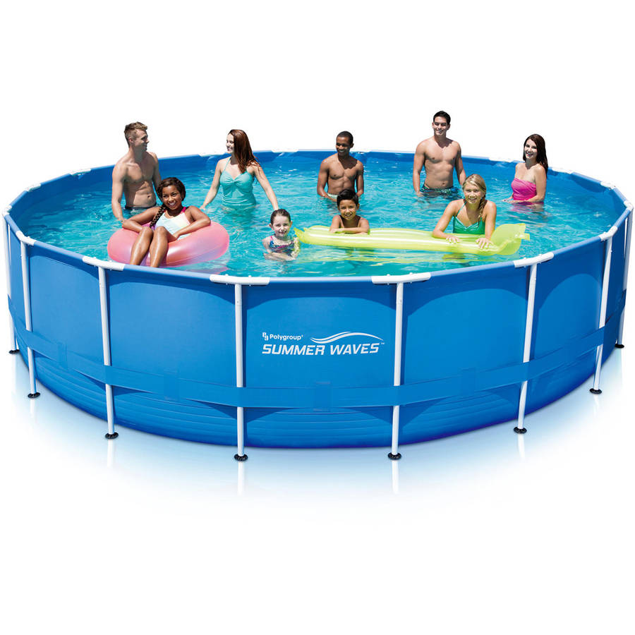 "Summer Waves 18' x 48"" Round Metal Frame Above Ground Swimming Pool with Deluxe Accessory Set"
