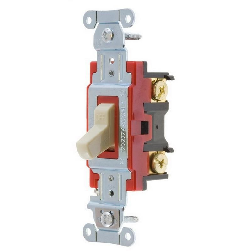 Hubbell-Wiring 1221I 120/277 Volt AC 20 Amp 1-Pole Heavy-Duty Industrial Specification Grade Toggle AC Switch Ivory Hubbell-Pro™