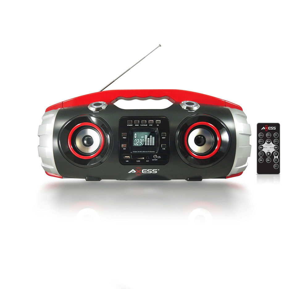 Axess Products PBBT2709RD Axess Portable Bluetooth Fm Radio Cd Mp3 Usb Sd Heavy Bass Boombox Red