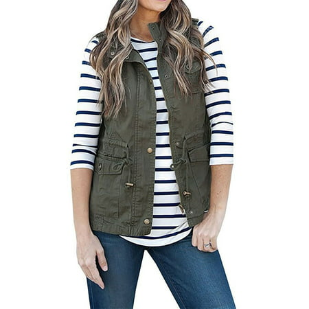 Nlife Women's Sleeveless Outwear Solid Autumn Zip Vest Coat