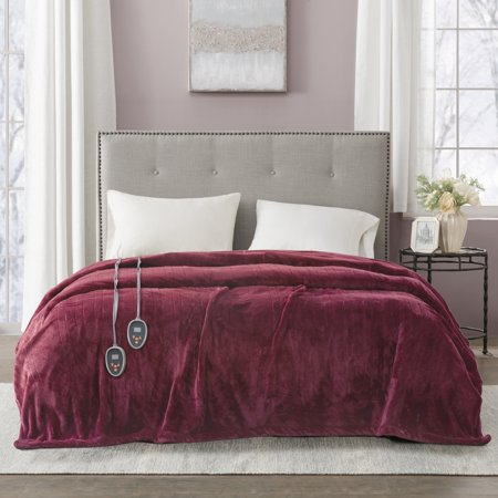 King Electric Plush Bed Blanket Red