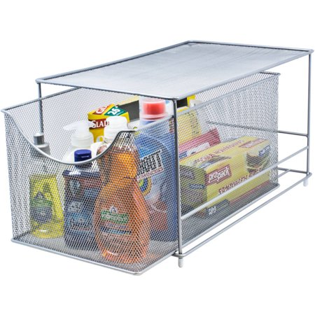 Sorbus Cabinet Organizer Drawer with Cover, Silver Mesh