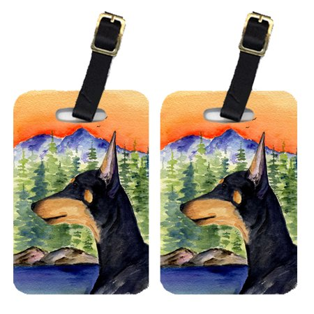 Pair of 2 Manchester Terrier Luggage Tags