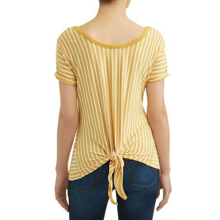 Striped Tab Sleeve Tee - Women's Short Sleeve Tie-Back Striped T-Shirt