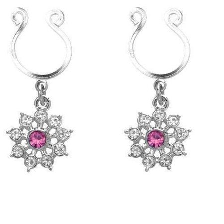 Nipple Ring Bars CZ Rhinestone Flower Dangle Non Pierce   sold as pair - Rhinestone Rings