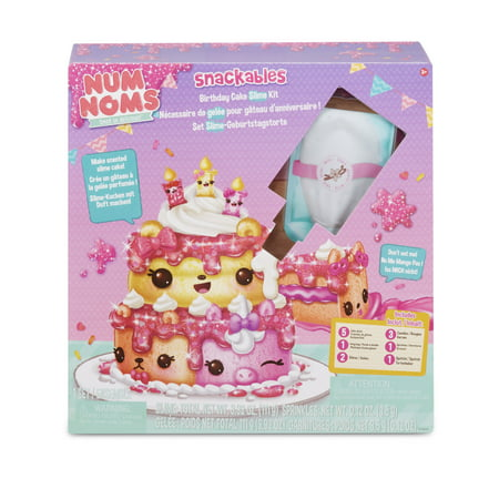 Num Noms Snackables Birthday Cake Slime Kit with Slime and Toppings
