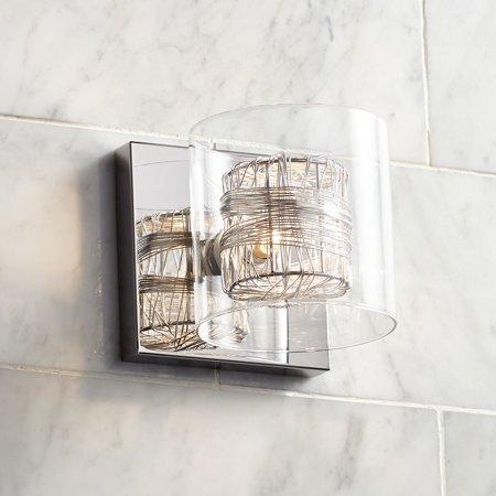 Possini Euro Design Modern Wall Light Sconce Polished Chrome Hardwired 5 1/4