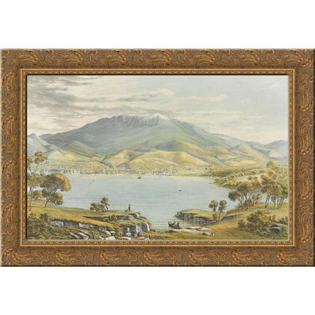 Hobart Town 24x18 Gold Ornate Wood Framed Canvas Art By Eugene Von