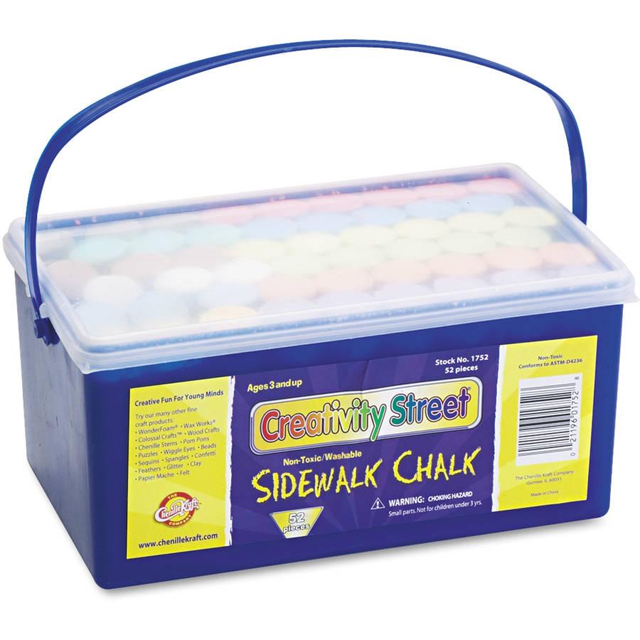 "Creativity Street Sidewalk Chalk, 4"" x 1"" Diameter. Jumbo Stick, 12 Assorted Colors, 52 Pieces/Each Case"