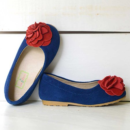 Boutique Rosette - Foxpaws Blue Suede Red Rosette Boutique Kate Shoes Toddler Girls 6-10